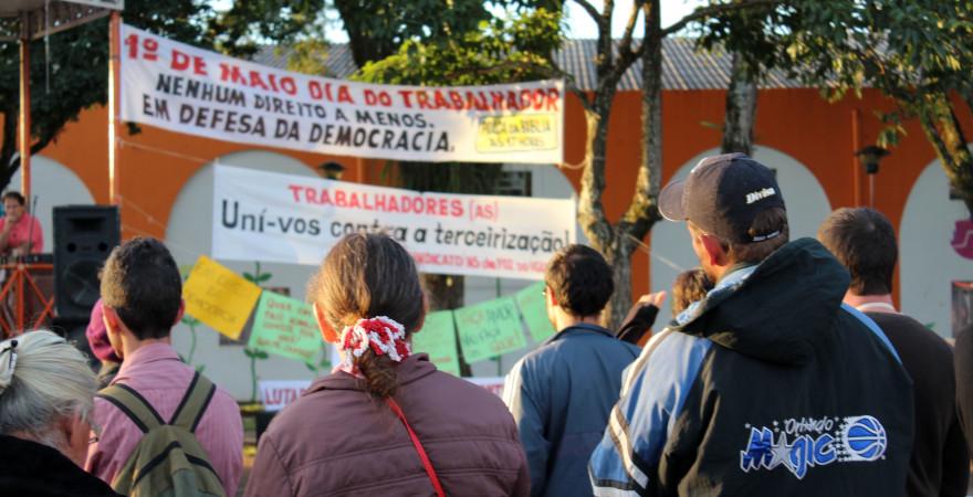 Trabalhadores unificam reivindicações em ato na Praça da Bíblia