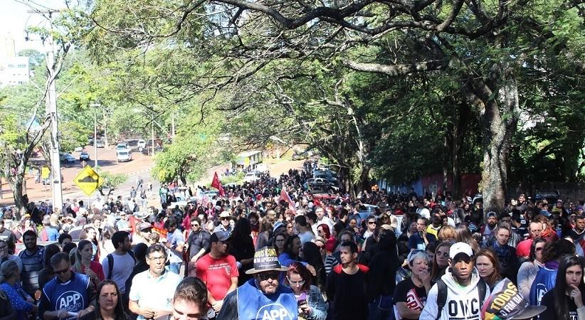 Protesto em Foz contra a reforma da Previdência