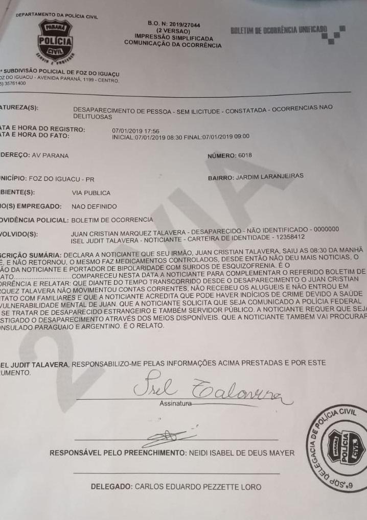 Boletim de ocorrência registrado na Polícia Civil de Foz do Iguaçu