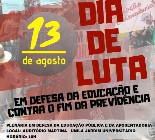 13 de agosto: dia de luta pela educação e contra o fim da Previdência